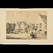 AUGUSTE LOUIS LEPERE  La maison des Petits Plaids à Provins, 1913 Etching