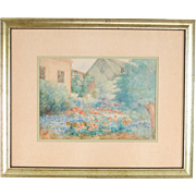 Watercolor Painting Cottage Garden signd Anne Spencer Hunt New Deal Muralist WPA