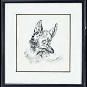 1960's Original Pen & Ink Illustration Cute Crying Fox signed Edith Suslick