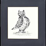 1960's Original Pen & Ink Illustration Cute Big-Eyed Owl signed Edith Suslick