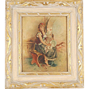 19th Century Oil Painting Pretty Barefoot Scullery Maid Seated on Bench Signed