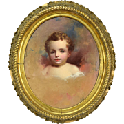 1850 Portrait Painting of Child John Beylard Philadelphia Circle of Thomas Sully