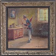 Circa 1900 Danish Oil Painting Interior Scene Dandy Man Looking in Mirror