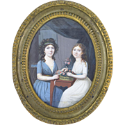 Antique Empire Period Miniature Painting Portrait Two Sisters Making Bouquets