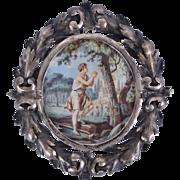 18th Century French Allegorical Miniature Portrait Painting Madame de Burman