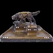 Antique Bronze Pointer Hunting Dog Figural Inkstand Desk Organizer sgnd Martel