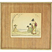 "1920's Hand Colored Etching ""The Little Shrine"" 3 Geishas Praying"