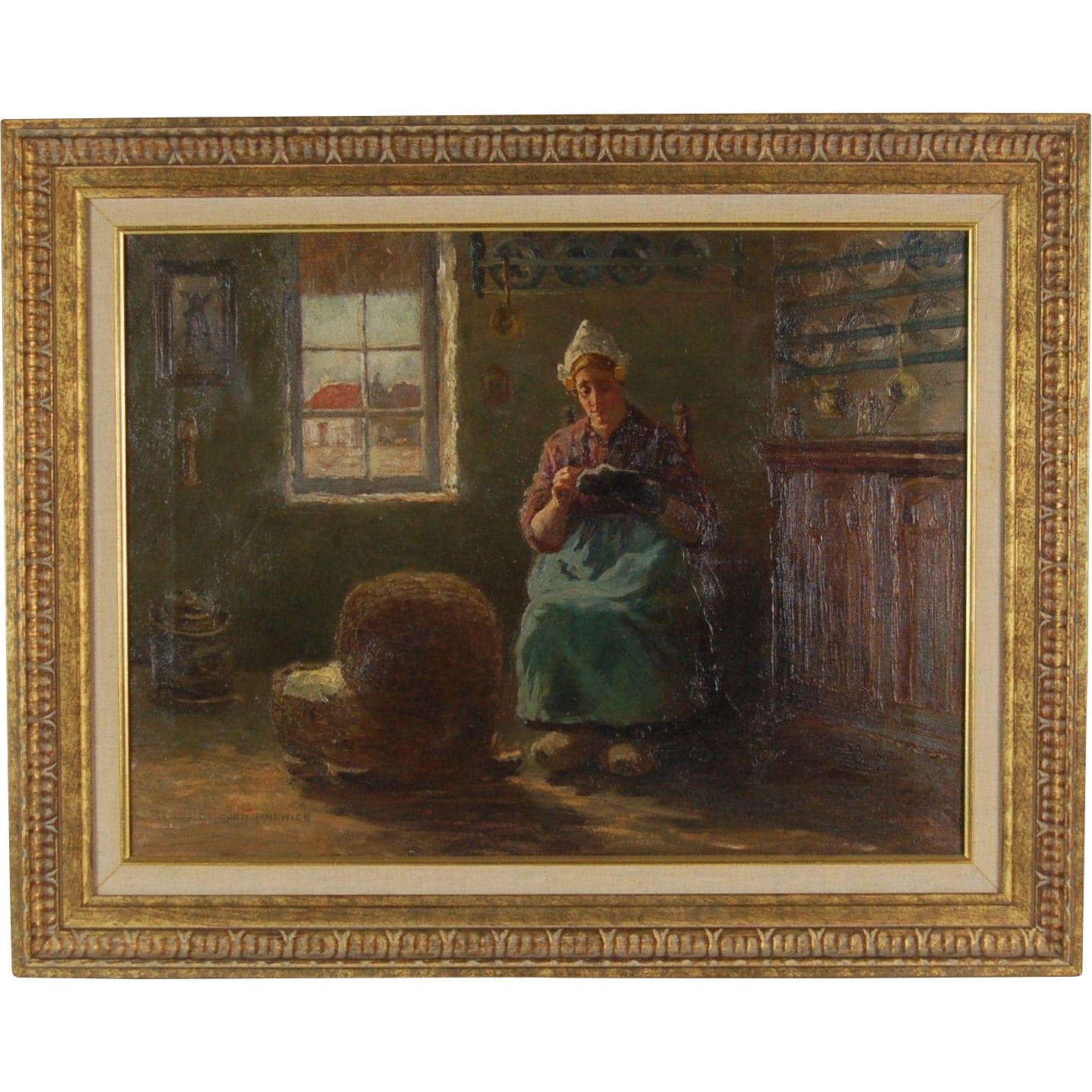 Melbourne Hardwick painting Dutch Mother Sewing while tending to Baby in Crib