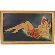 1940's Original Watercolor Painting Semi-Nude Bombshell Pin-Up sgnd Tadeusiak