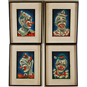 Group 4 Art Deco Clown Paintings by New Orleans artist Majel Warfield