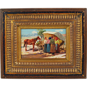 Hungarian Oil Painting Women at Market w Horse and Cart sgnd Carolus Pallya