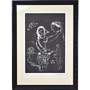 "Marc Chagall ""Blanc Sur Noir"" Black and White Lithograph Signed Numbered"