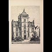 Tancrede Abraham - Castle of Saint-Ouen Etching Gazette des Beaux Arts