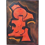 Vintage Mid-Century Modern Cubist Abstract Oil Painting