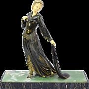 Original Period Art Deco French Spelter Bronze Sculpture Elegant Woman sgnd Roggia