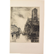 Eugene Bejoy - Saint Nicolas des Champs Aquatint Etching Gazette des Beaux Arts