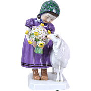 Meissen Figure of Girl with Sheep or Lamb Model Z 134