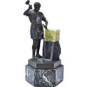 German Bronze depicting Classical Sculptor Working a Marble Block Hans Keck