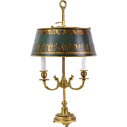 Vintage Gilt Bronze Fine Bouillette Lamp with Dolphin Arms Tole Shade