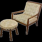 T.H. Robsjohn Gibbings WWZ Gibby Lounge Chair w Matching Ottoman