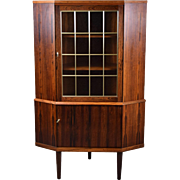 Mid Century Danish Modern Rosewood Corner Cabinet Leaded Glass Door