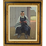 Vintage Oil Painting Rabbi Reading Torah Signed Lower right