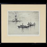 """""""Evening on the Maas"""" 1930's Etching Sydney Mackenzie Litten British Artist"""