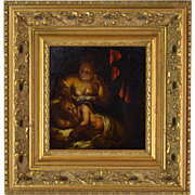 Dutch Oil Painting Nude Mother & Child in Lamplight Manner of Godfried Schalcken