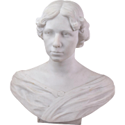 1920's Finely Carved Marble Sculpture Life Size Bust of Elegant Woman