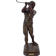 1920's French Spelter Bronze Golf Sculpture by Georges Vacossin