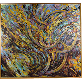 Large Abstract Mid-century Modern Oil Painting Swirling Octopus Limbs