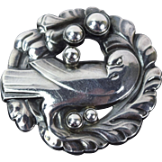 Georg Jensen Dove Bird Brooch Sterling w Silver Cabochons Denmark