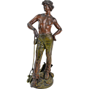 1900 French Cold Painted Spelter Bronze Handsome Farmer w Pitchfork & Canteen