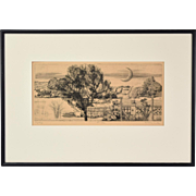 1975 Hungarian Engraving Surrealist Landscape w Crescent Moon Csaba