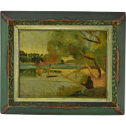 1933 Sam Ostrowsky Chicago Modernist Oil Painting Des Plaines River