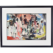 1951 Abstract Watercolor African-American Kids Playing Signed Tibuchi