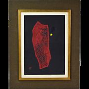 """Vintage Modern Japanese Abstract Woodblock Intaglio Print Maku Haki """"Poem 70-62"""""""