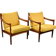 Pair of Vintage Danish Modern Teak Armchairs Lounge Chairs