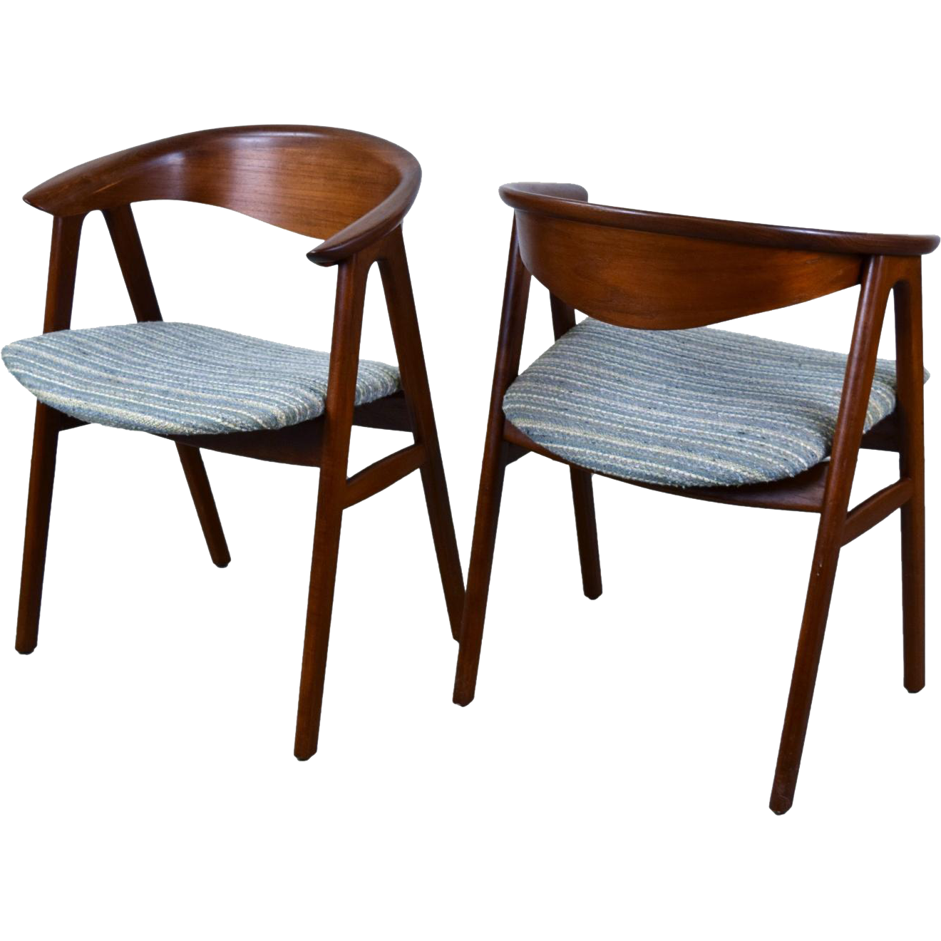 Pair vintage mid century danish modern dining arm chairs for Classic mid century chairs