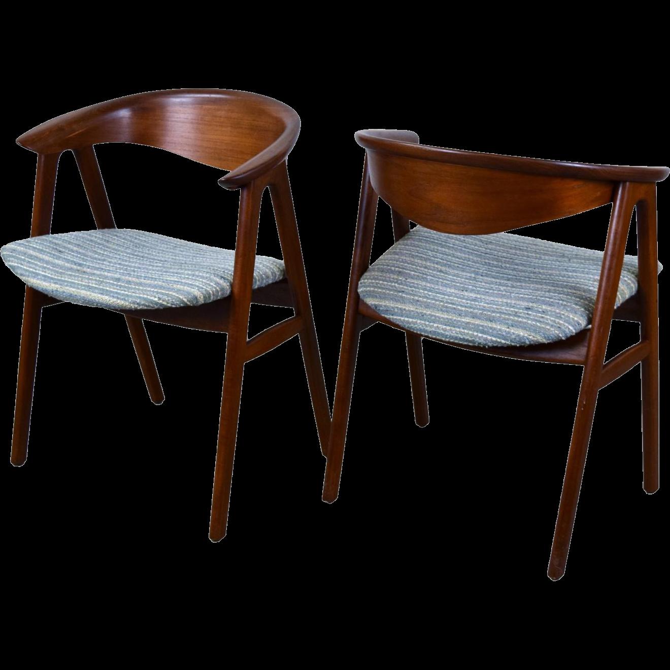 Pair Vintage Mid Century Danish Modern Dining Arm Chairs ...
