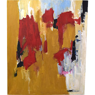 Large Vintage Mid-Century Modern Abstract Oil Painting Peggy Zivi Chicago