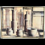 """Composizione"" Italian Mid-Century Modern Cubist Still Life Oil Painting Jan Hepp"
