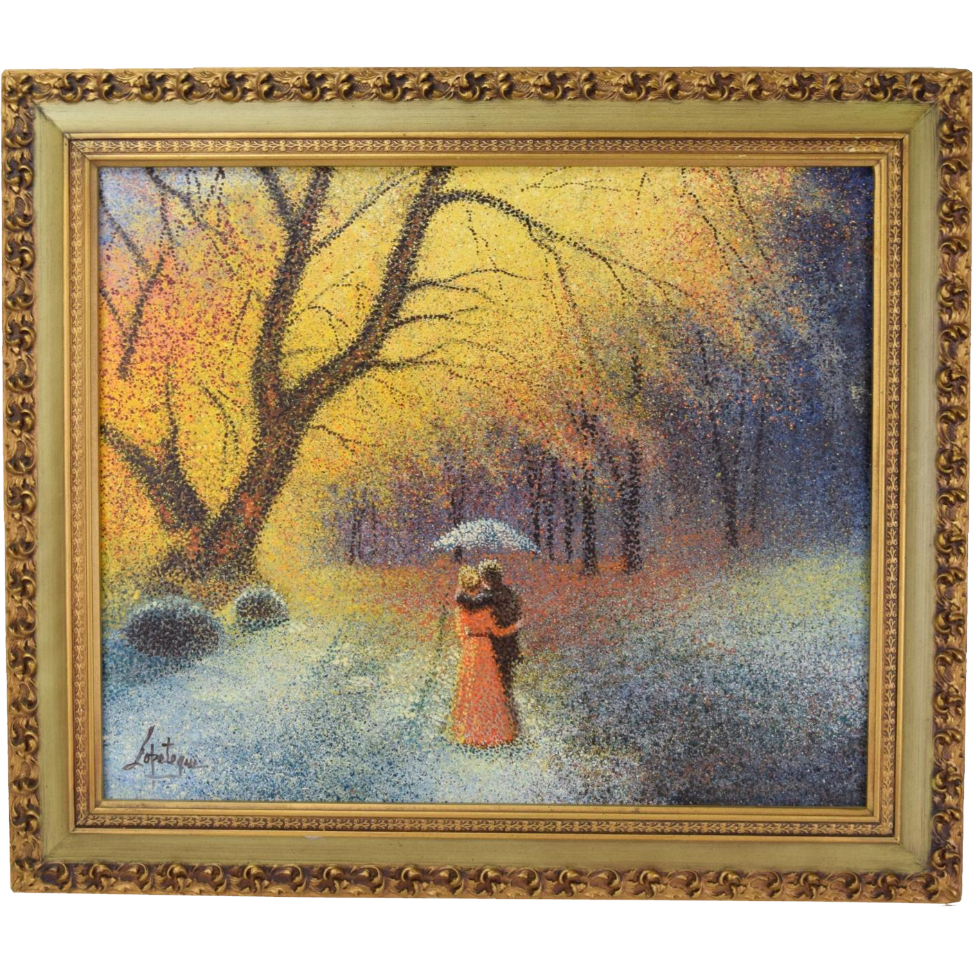 Vintage 1970's Pointillist Impressionist Oil Painting Lovers in Park Lopetequi Cuban