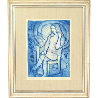 """Circa 1965 Irving Amen Colored Etching """"Ora"""" Young Woman in Boots Seated"""