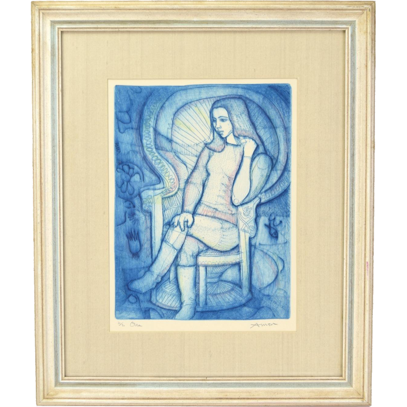 "Circa 1965 Irving Amen Colored Etching ""Ora"" Young Woman in Boots Seated"