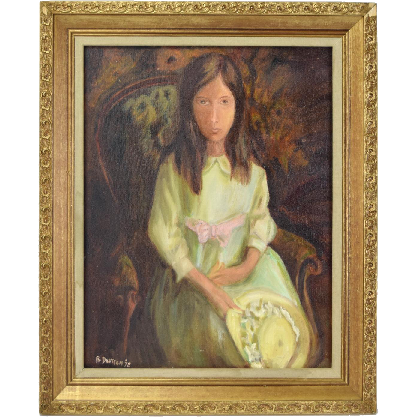 Vintage 1972 Oil Painting Young Woman Abstract Elongated Face Victorian Armchair