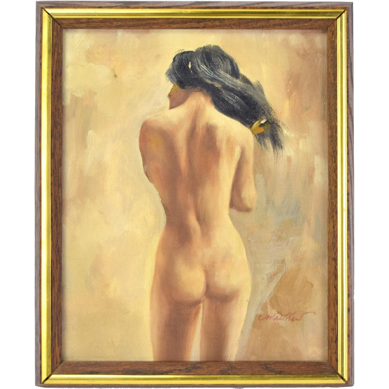 Vintage 1960's Nude Oil Painting Portrait Woman's Posterior signed Matthew