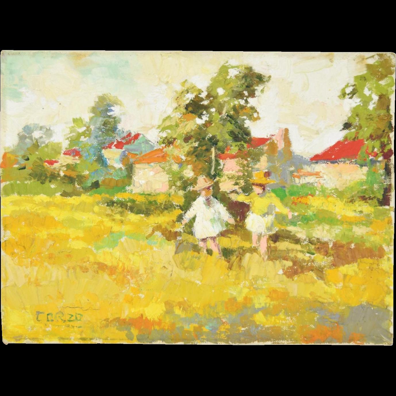 """Sunday Dress"" Impressionist Oil Painting Gracielo Corzo 1970's"