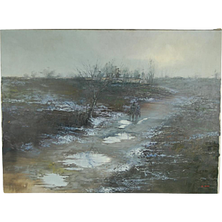 Mid-century Modern Abstract Oil Painting 2 Figures Approaching Village