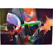 Large Abstract Colorist Oil Painting on Canvas signed Jack Roberts